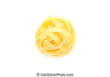 Pasta isolated on white background, top view. Traditional shape of dry uncooked whole pasta