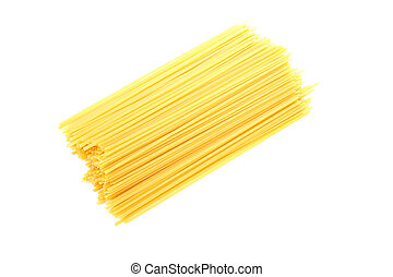 Pasta isolated on white background, top view. Uncooked whole wheat pasta