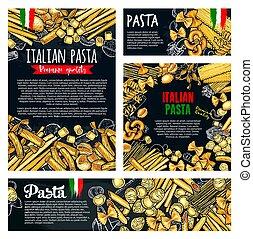 Pasta italian food poster of spaghetti or macaroni - Pasta...