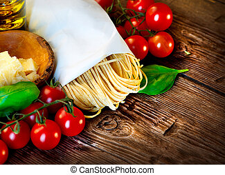 Pasta. Italian Homemade Spaghetti with Parmesan and tomatoes