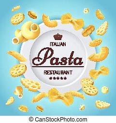 Pasta italian restaurant traditional kitchen food vector background