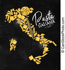 Poster lettering pasta italiana with macaroni map drawing on chalkboard background.