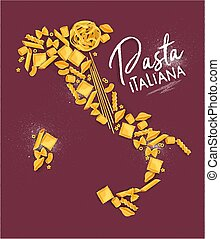 Poster lettering pasta italiana with macaroni map drawing on crimson background.