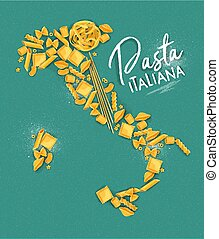 Poster lettering pasta italiana with macaroni map drawing on turquoise background.