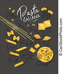 Poster lettering pasta italiana with many kinds of macaroni drawing on grey background.