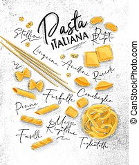 Poster lettering pasta italiana with many kinds of macaroni drawing on dirty paper background.