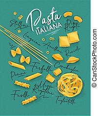 Poster lettering pasta italiana with many kinds of macaroni drawing on turquoise background.