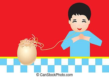 pasta, jongen, eten, schild, retro