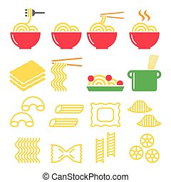 pasta, kebule, špagety, -, italian food, ikona, dát