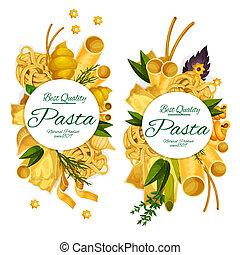 Pasta macaroni and spaghetti round vector poster - Pasta and...