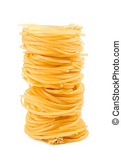 Pasta meal for dinner on white isolated background