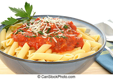 Penne pasta with fresh homemade tomato sauce.