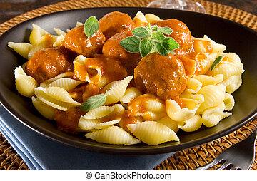 pasta, meatballs