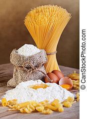 pasta, med, ingredienser, -, mjöl, och, ägg