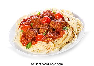 pasta, med, kött kulor, och, tomatosauce