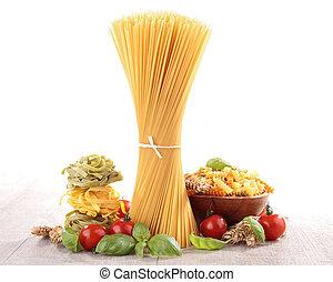 pasta, med, tomat, och, basilika