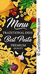 Pasta menu for Italian cuisine or pastry dishes - Italian...