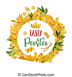 Pasta menu template icons of Italian pastry food - Pasta...