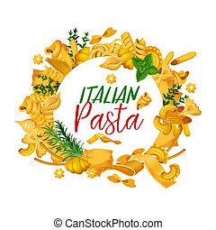 Pasta menuwith frame of Italian pastry