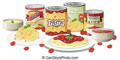 pasta, minestra, set