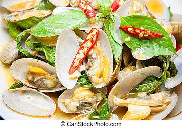 pasta, moluscos, alimento, assado, pimentão, fritado, movimento, tailandês