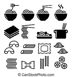 Pasta, noodles, spaghetti - Italian food icons set