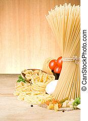 pasta, och, mat, ingrediens, på, ved, bakgrund