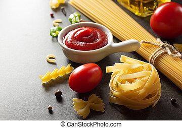 pasta, och, mat, ingrediens