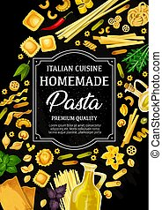 Pasta of Italy menu, pastry food - Italian pasta poster,...