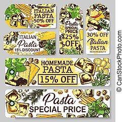 Pasta of Italy sketch banners, vector - Italian pasta...