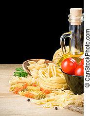 pasta, og, mad, ingrediens, isoleret, på, sort