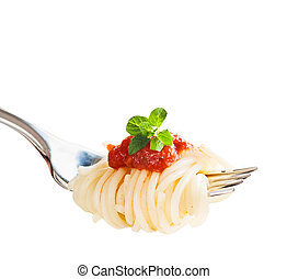 Pasta on fork with tomato sauce and basil isolated on white