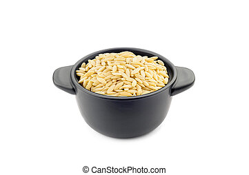 "Pasta ""Orzo"" in a Black Cup"