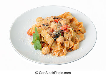 Pasta pappardelle with chicken noisettes and parmesan on white dish isolated on a white background