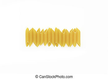 Pasta penne on a white background