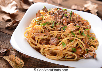 pasta - Pasta with chanterelles mushrooms and chicken