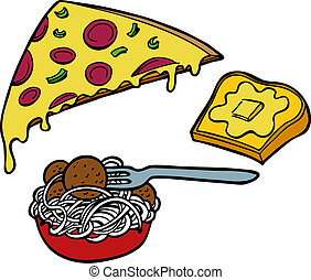 Pasta Pizza Garlic Bread - Italian food items such as pizza,...