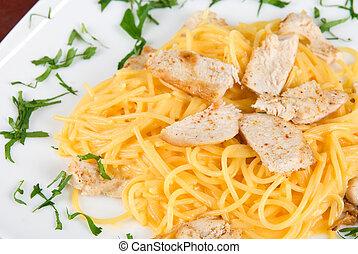 pasta, pollo, carne