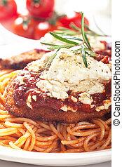 pasta, pollo, spaghetti, parmesan