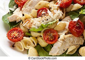 pasta pomodoro, pollo, spinacio