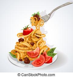 pasta pomodoro, salsa, carne