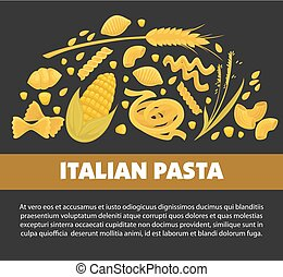 Pasta poster design for Italian food cuisine or macaroni and...