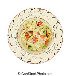 A single serving of pasta Primavera in a southwestern style bowl on a white background.