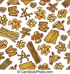 Pasta seamless pattern, vector background - Italian pasta...