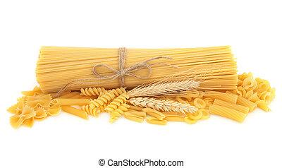 Pasta selection with wheat straw ears over white background.