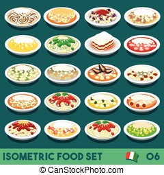 Pasta Set 06 Food Isometric