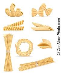 pasta, set, vector, illustratie, iconen