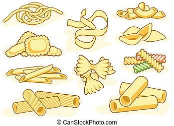 Pasta shape icons - Set of editable vector icons of...