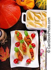 pasta shells stuffed with minced meat , pumpkin and zucchini...