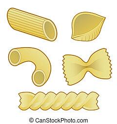 pasta, slagen, mat, vektor
